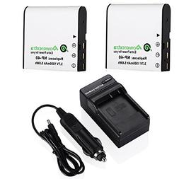 Powerextra 2 x Replacement Casio NP-40 Battery and Charger C