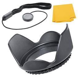 55mm Tulip Lens Hood + Cap Keeper + MicroFiber Cleaning Clot