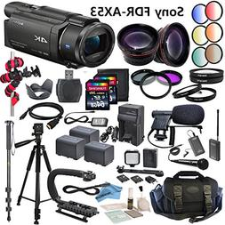 Professional Ultra HD 4K Camcorder Bundle - Sony FDR AX53 Ca