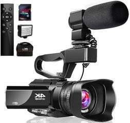 Video Camera 4K Camcorder with Microphone 48MP Vlogging Came