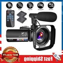 Video Camera Camcorder W/ Mic  2.7K Ultra HD 20FPS 30.0MP 18