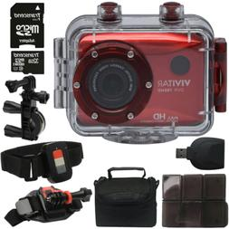 "Vivitar DVR-786HD Red 5.1MP Action Camcorder 1.8"" Touch Scre"
