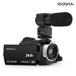 "Wifi 4K 1080P Camcorder 48MP Digital Video Camera 3"" Touchsc"